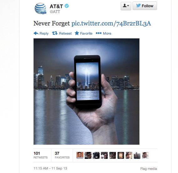 AT&T 9/11 tweet 2013