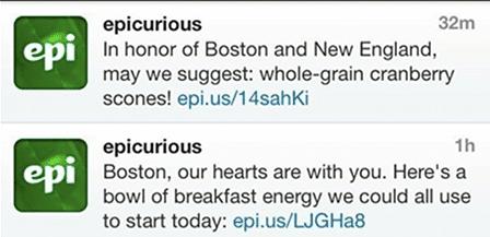 Epicurious Boston tweet 2013