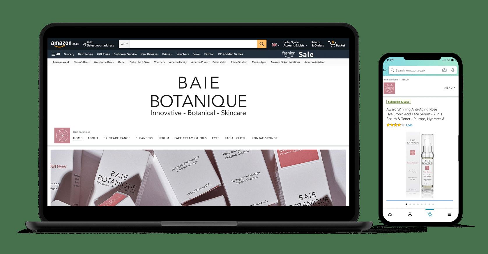 Baie Botanique Amazon store on desktop and mobile