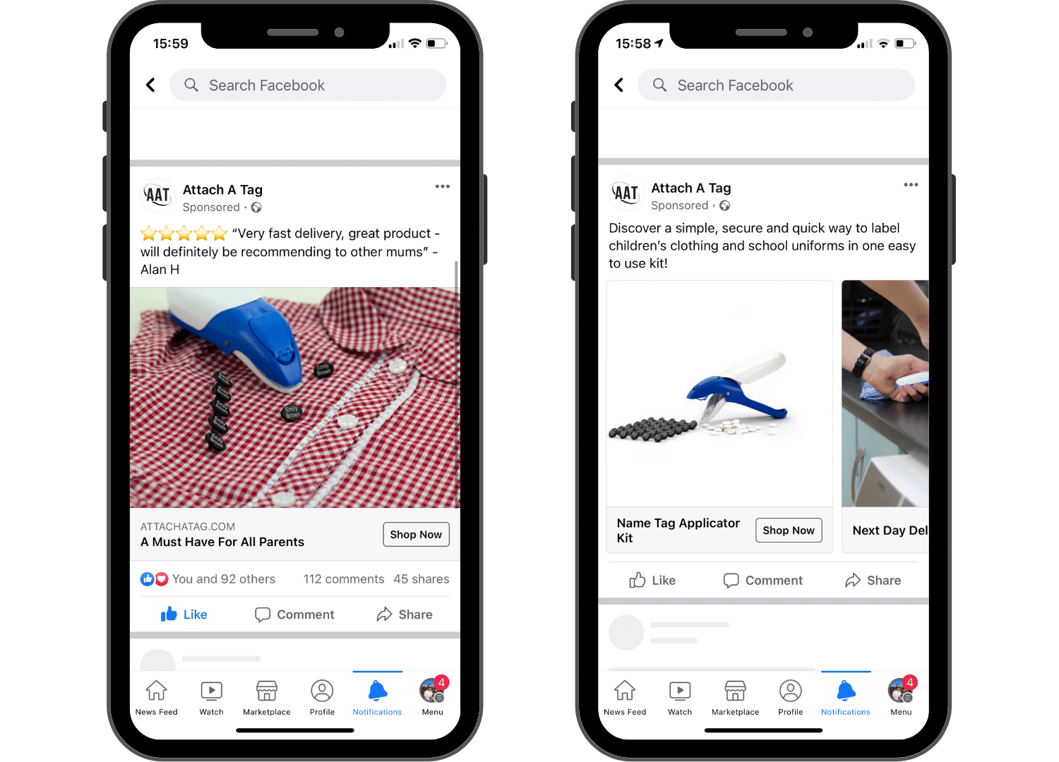 Facebook ads for Attach a Tag